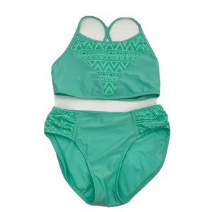 🌸Cat and Jack Girl's Teal swim suit 2 piece green
